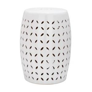Biały stolik ceramiczny odpowiedni na zewnątrz Safavieh Lattice Petal, ø 33 cm