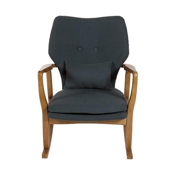 Szary fotel na biegunach z konstrukcją z drewna wiązu Santiago Pons Woven