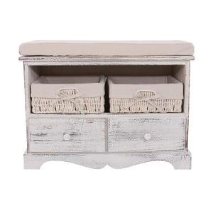 Biała ławka z koszykami i szufladami Mendler Shabby