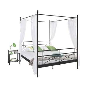 Czarne łóżko metalowe Støraa Tanja Canopy, 140x200cm