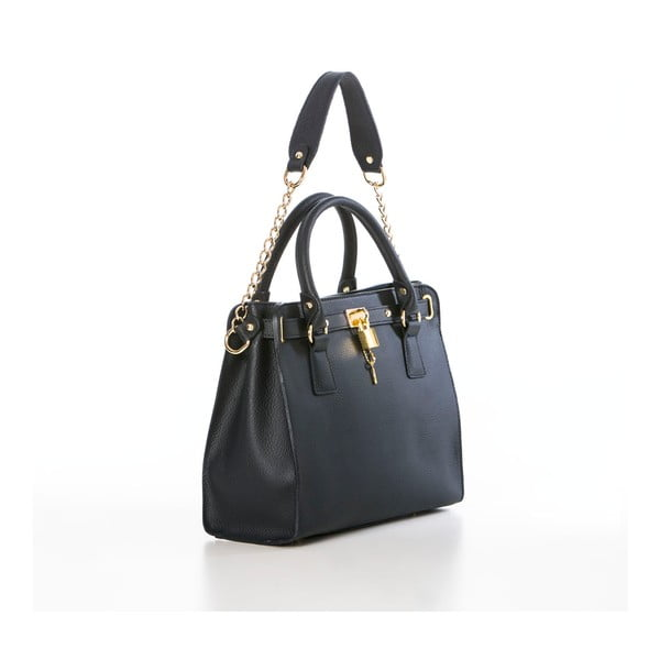 Skórzana torebka Federica Bassi Gina, niebieska