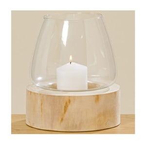 Świecznik szklany z drewnianą podstawką Boltze Pawlonie