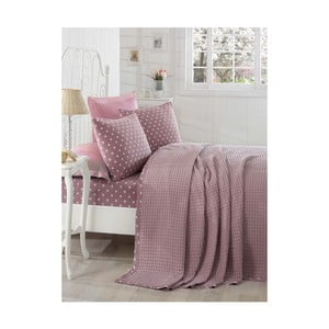 Lekka narzuta z prześcieradłem i poszewkami na poduszki  Puan Dark Lilac, 200x235 cm