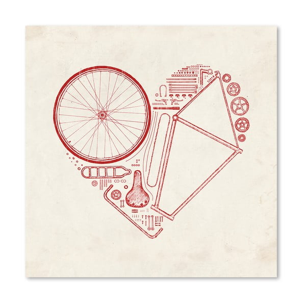 Plakat Love Bike Red, 30x30 cm