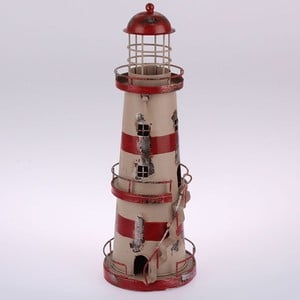 Metalowy lampion wiszący Red Stripes Lighthouse, 32 cm