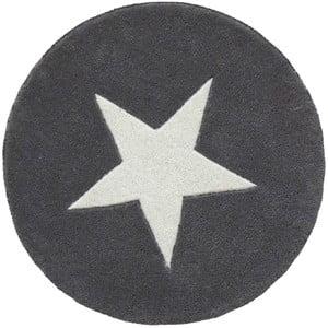 Szary dywan wełniany ręcznie tuftowany Linie Design Star,⌀130 cm