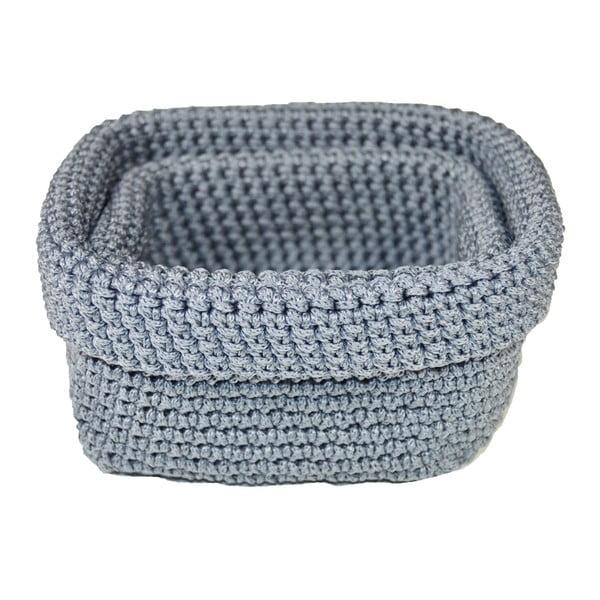 Zestaw 2 koszyków Crochet Blue