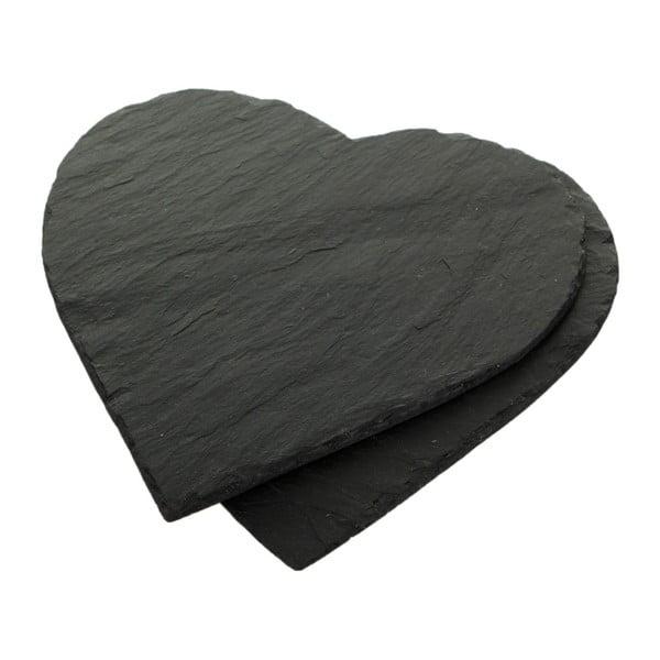 Zestaw 2 podkładek Heart, łupek kamienny, 25x25 cm