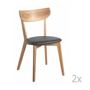 Zestaw 2 krzeseł z dębowym dekorem i czarnym siedziskiem Folke Ami