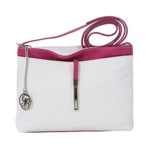 Skórzana torebka Francesco, biało-fuksjowa