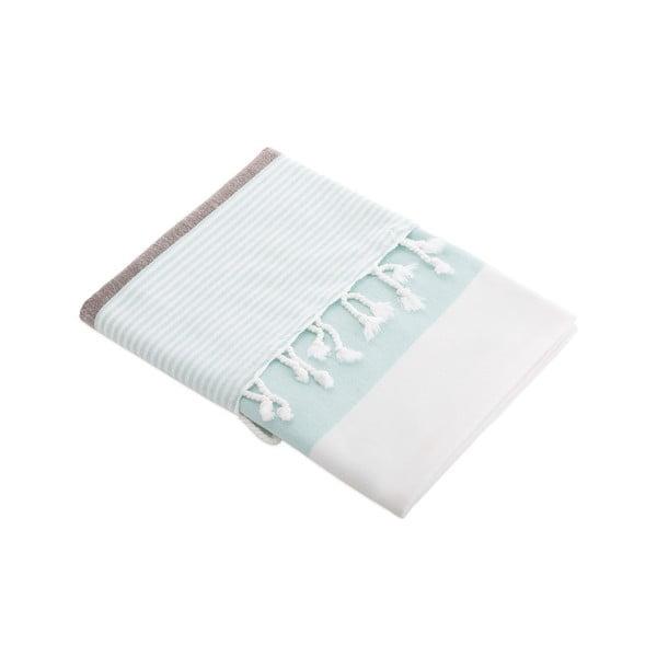 Ręcznik turecki Selma Lucite Green/Beige, 95x170 cm