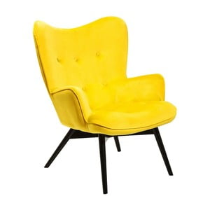 Żółty fotel Kare Design Vicky Velvet