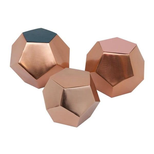 Zestaw 3 pojemników Diamond Petrol/Rose/Copper