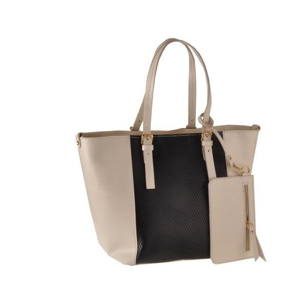 Skórzana torebka Gomeisa, czarna/beżowa