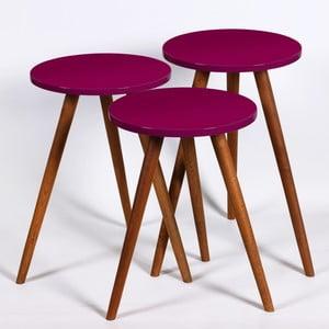 Zestaw 3 ciemnofioletowych stolików Kate Louise Round
