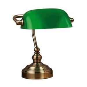 Lampa stołowa z zielonym kloszem i podstawą w kolorze mosiądzu Markslöjd Bankers, 25 cm