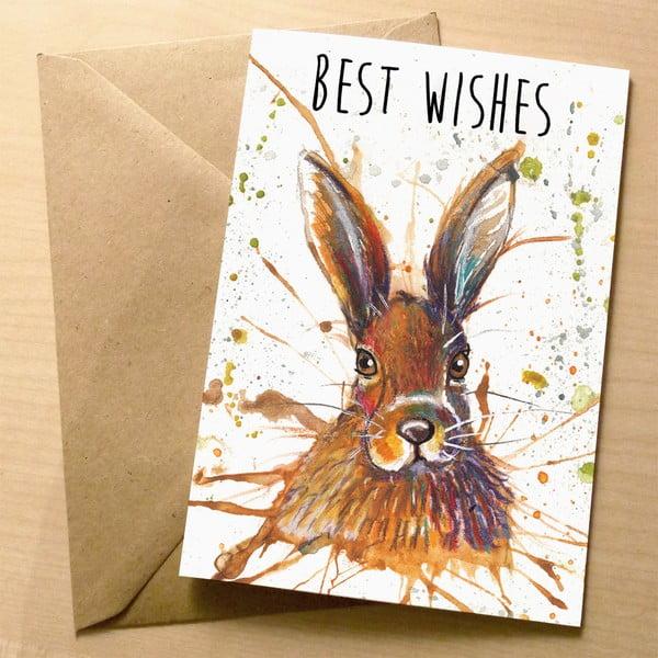 Kartka okolicznościowa Wraptious Splatter Hare Best Wishes