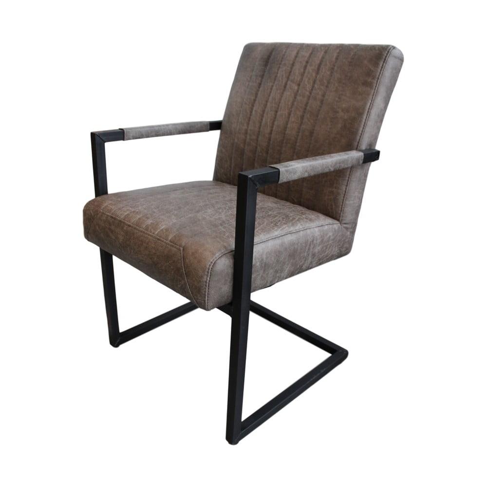 Szarobrązowe Krzesło Ze Skórzanym Obiciem I Podłokietnikami Hsm Collection Texas Bonami
