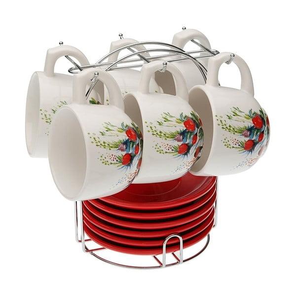 Zestaw 6 filiżanek ze spodkami i stojakiem VERSA Flower