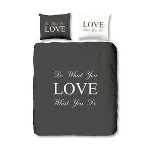 Antracytowa pościel Muller Textiel Love, 140x200 cm