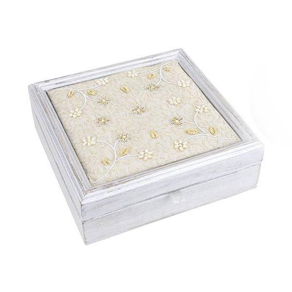 Drewniane pudełko na biżuterię Gold Flowers