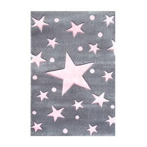 Różowo-szary dywan dziecięcy Happy Rugs Star Constellation, 80x150 cm