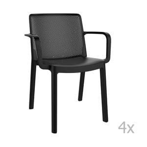 Zestaw 4 czarnych krzeseł ogrodowych z podłokietnikami Resol Fresh