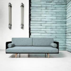 Sofa rozkładana Karup Deva Black/Raw Oak/Sky Blue