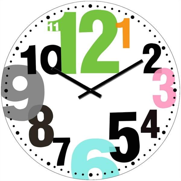 Szklany zegar Kolorowe liczby, 34 cm