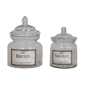 Zestaw 2 szklanych pojemników Choco Biscuit