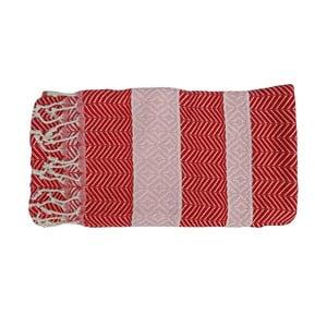 Czerwony ręcznie tkany ręcznik z bawełny premium Basak,100x180 cm