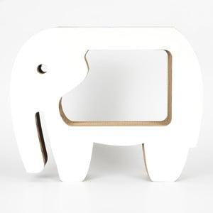 Biały kartonowy stolik w kształcie słonia Dekorjinal Pouff Elephant, 60x49cm