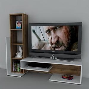 Stolik telewizyjny z regałem Bend White/Walnut, 39x153,6x130,9 cm