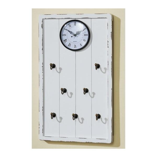 Zegar ścienny z haczykami na klucze