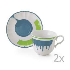 Zestaw 6 filiżanek z podstawką Giotto Green/Turquoise