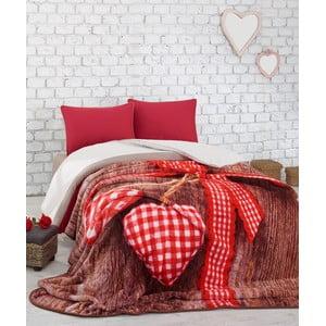 Czerwona narzuta na łóżko dwuosobowe Lovebox, 240x220 cm