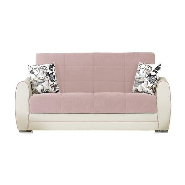 Jasnoróżowo-kremowa dwuosobowa sofa rozkładana ze schowkiem Esidra Rest