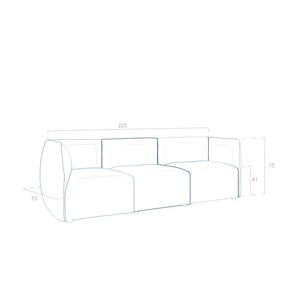 Sofa trzyosobowa VIVONITA Cube Sawana, ciemny beż