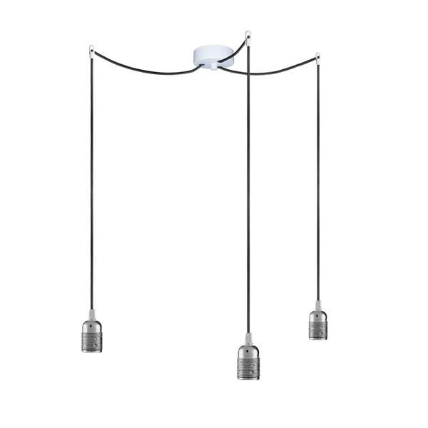 Trzy wiszące kable Uno, srebrny/czarny/biały