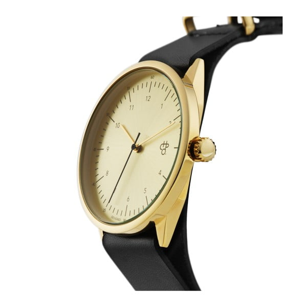 Zegarek z czarnym paskiem i cyferblatem w kolorze złota CHPO Harold