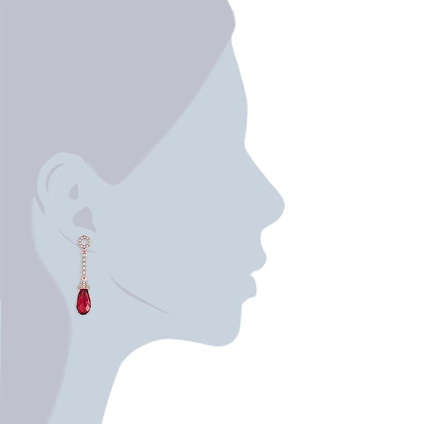 Kolczyki Swarovski Elements Stone Red