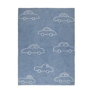 Niebieski dywan bawełniany Happy Decor Kids Coches, 160x120cm