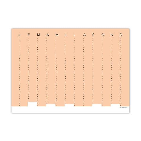 Brzoskwiniowy kalendarz ścienny SNUG.Column, 5x7 cm