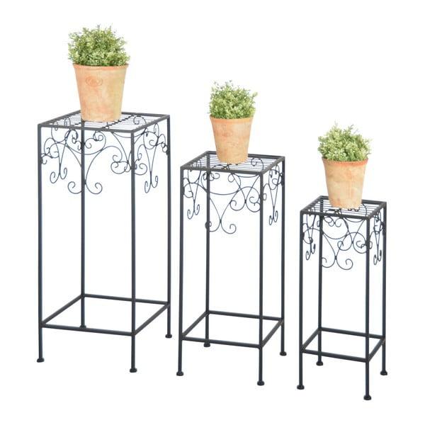 Zestaw 3 czarnych postumentów na doniczki z kwiatami Esschert Design