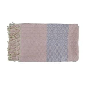 Różowy ręcznie tkany ręcznik z bawełny premium oasa,100x180 cm