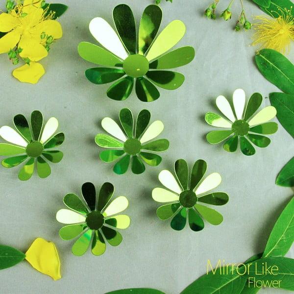 Zestaw 12 zielonych naklejek elektrostatycznych 3D Ambiance Flowers Chic Green