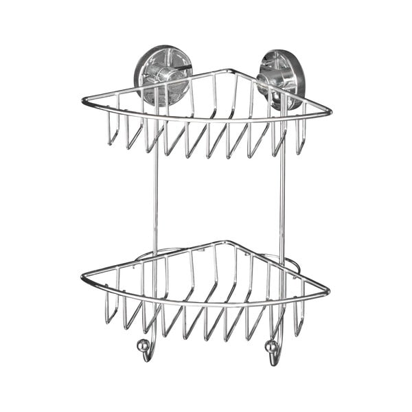 Narożna półka dwupoziomowa z przyssawką Wenko Vacuum-Loc, do 33 kg