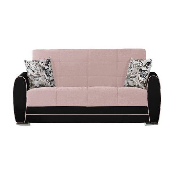 Róowo-czarna dwuosobowa sofa rozkładana ze schowkiem Esidra Rest