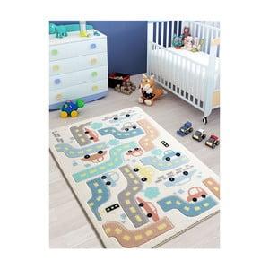 Biały dywan dziecięcy Confetti Baby Car, 100x150 cm