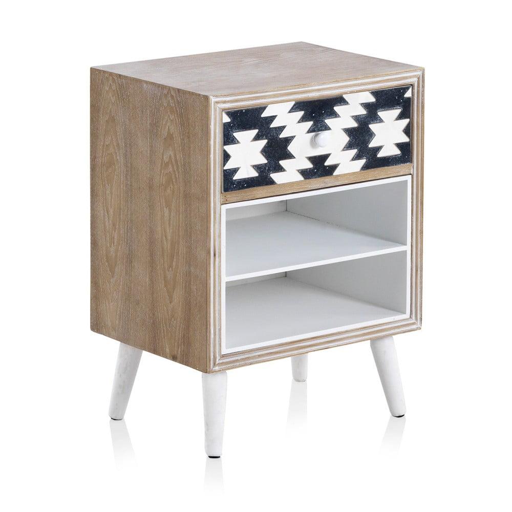 Stolik z czarno-białymi detalami i 1 szufladą Geese Rustico Geometric